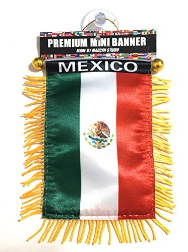 Bandera de México para el coche, las camionetas, las furgonetas, el autobús, trabajos en cualquier automóvil, espejo de rearview o cualquier ventana (Para Mexico)