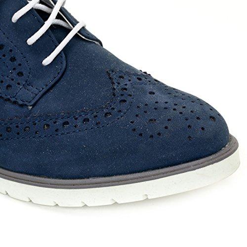Marina Seval Scarpe&Scarpe - Schnürschuhe mit Lochmuster, Flache Schuhe, Leder - 40,0, Blau