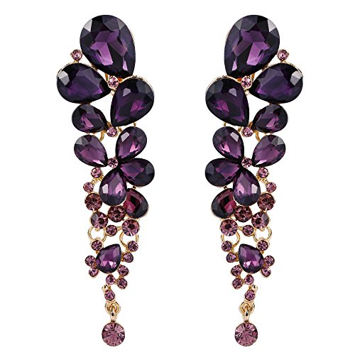 EVER FAITH Rhinestone Crystal Elegant Waterdrop Bridal Feast Dangle Clip-on Earrings Purple Gold-Tone