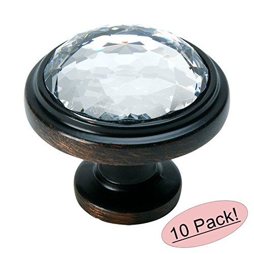 Bronze Classic Crystal (Cosmas 5317ORB-C Oil Rubbed Bronze Cabinet Hardware Round Knob with Clear Glass - 1-1/4