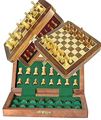 Chess Bazar - Magnetic Traveling Chess Set - Staunton 7 X 7 Inch Folding Game Board Handmade in Fine Rosewood Boxwood 32 Pcs with Box Complete Set