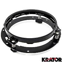 "Krator Black 7"" LED Headlight Mounting Ring Trim Bracket for 2007-2016 Jeep Wrangler Unlimited 4-Door (JK) (Requires 2 Headlight Brackets)"