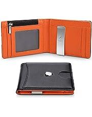Portafoglio Uomo Vera Pelle Blocco RFID con fermasoldi, Piccolo Portafogli con tessere tascabile documenti, porta carte di credito, finestra di ID, Portafoglio con confezione regalo -Nero e arancione