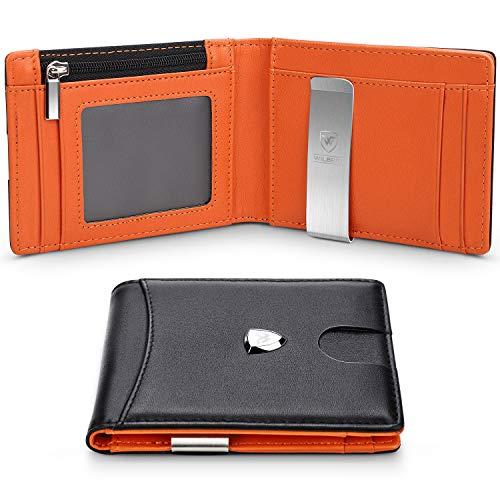🥇 Carbon Fiber Money Clip Wallet – Aluminum Credit Card Wallet RFID – Men Minimalist Slim Credit Card Holder – New Upgraded Business Version