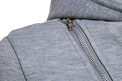 Del Hoodies L'abbigliamento Uomini Cappotto Manicotto Con Casuali Outwear Grau Degli Cerniera Lunga Giacca Incappucciati Hoody F4x1qa
