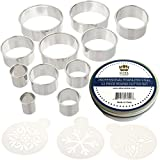 Ultra Cuisine Round Cookie Biscuit Cutter Set - 11 Graduated Circle Pastry Cutters - Heavy Duty Commercial Quality 100% Stainless Steel Metal Ring Baking Molds for Muffins, Crumpets, Donuts & Scones