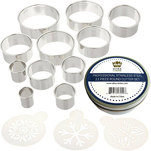 Ring Mold - Ultra Cuisine Round Cookie Biscuit Cutter Set - 11 Graduated Circle Pastry Cutters for Donut and Scone Heavy Duty Commercial Quality 100% Stainless Steel Metal Ring Baking Molds with 3 Cookie Stencils