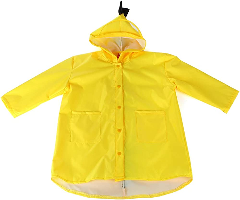 Lumemery Boys Girls Raincoat Cute Dinosaur Children Rain Poncho Unisex Kids Waterproof Hooded Button Down Jacket Rain Cape