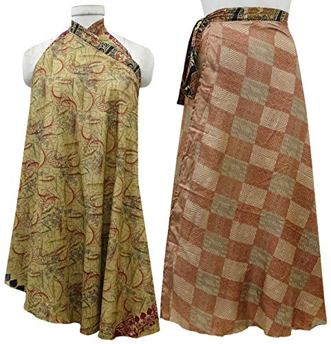 Jupe Indianbeautifulart Portefeuille Pure Silk Double Brown rversible amp; Couche Vert Robe Lumire Olive UBqBEr