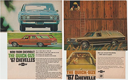 1967 CHEVROLET CHEVELLE SS 396 SPORT COUPE & CHEVELLE CONCOURS CUSTOM STATION WAGON LOT of 2 LARGE VINTAGE COLOR AD ADS - USA - NICE ORIGINALS - Wagon Station 1967 Chevrolet