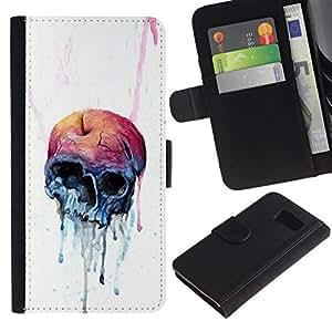 All Phone Most Case / Oferta Especial Cáscara Funda de cuero Monedero Cubierta de proteccion Caso / Wallet Case for Samsung Galaxy S6 // Melting Apple Skull
