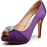 Luxveer Wedding Shoes Combining Satin Lace And Rhinestone Brooch High Heel 4.5inch-peep Toe-eur35 (8, Purple) | amazon.com