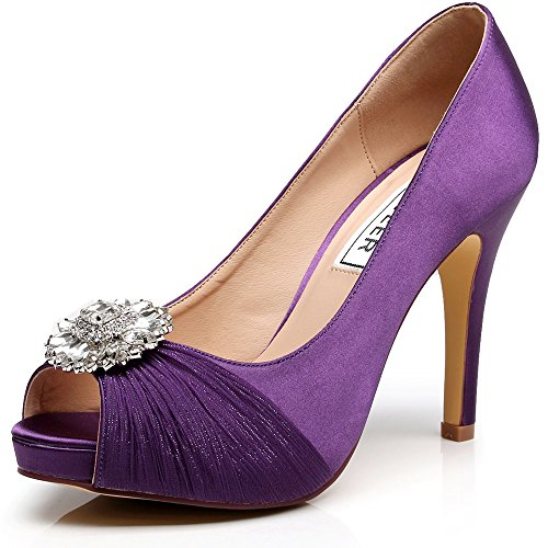 87176d1b54e LUXVEER Wedding Shoes Combining Satin Lace and Rhinestone Brooch High Heel  4.5inch-Peep Toe-EUR35 - Buy Online in UAE.