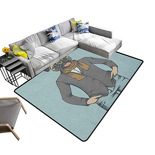 Pug Custom Pattern Floor mat Abstract Image of a Dog with Human Proportions with Jacket Scarf and Jeans Absurd 78