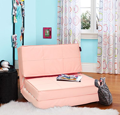 Amazon.com: Urban Shop 3-in-1 Faux Leather Convertible Chair, Blush ...
