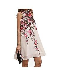 Mujeres Vestido, ieason Venta caliente. 2017Verano Corto Vestidos Casual Womens Floral cuello redondo Cut Out sin mangas vestido, Blanco