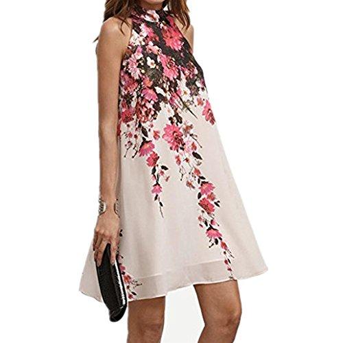 Women Dress,IEason Hot Sale! 2017 Summer Short Dresses Casual Womens Floral Round Neck Cut Out Sleeveless Dress (XL, - Summer White Hot