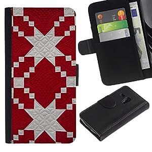 KLONGSHOP / Tirón de la caja Cartera de cuero con ranuras para tarjetas - Pattern Jewish Red White Fabric - Samsung Galaxy S3 MINI NOT REGULAR! I8190 I8190N