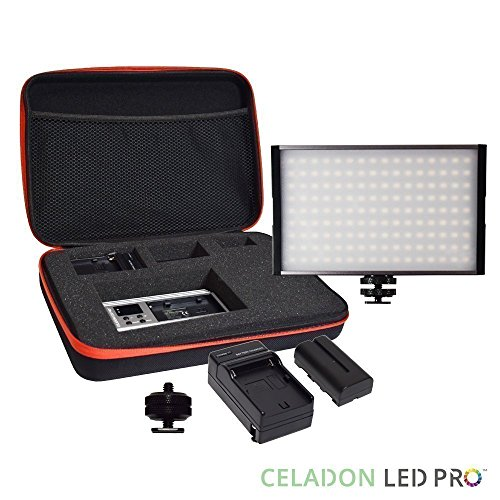 Radiant XL 144 SMD On Camera Video LED Panel Light Kit, CRI 95+ Bi-Color Dimmable Digital Display, Rechargeable Li-on Battery for Canon, Nikon, Pentax, Olympus, SONY, Samsung DSLR, YouTube, Studio by CELADON LED PRO