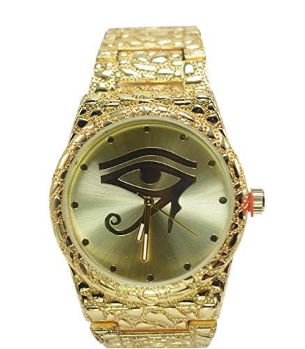 Prisa Times Men's Hip Hop Luxury Iced Out 14K Gold PT Metal Evil Eye Band Rapper's Watch