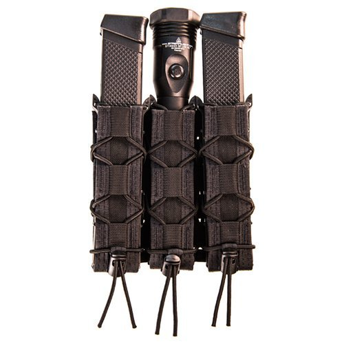 HSG HSGI: Triple Extended Pistol Shingle - easily quickly attach 3 extended pistol TACO pouches to PALS chest rigs (Black)