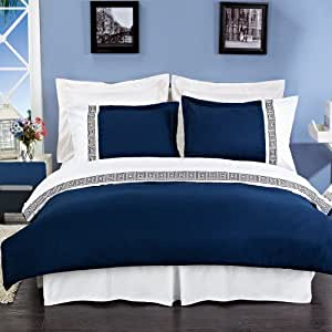 """Navy and White Astrid Embroidered 3-piece King / Cal-king Comforter Cover """" Duvet-Cover-Set """" 100 % Microfiber"""