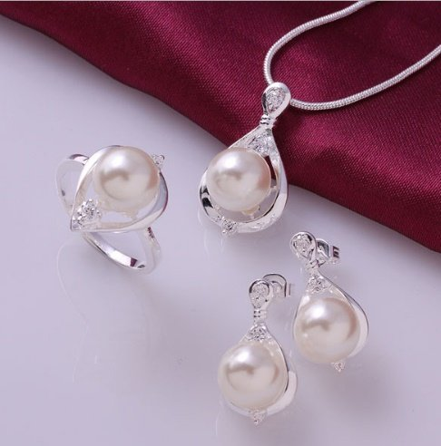 Fashion Sterling simulated earrings necklace