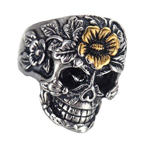 PAURO Men's Stainless Steel Gold Flower Vintage Skull Head Punk Biker Hip Hop Ring Size 12 by PAURO