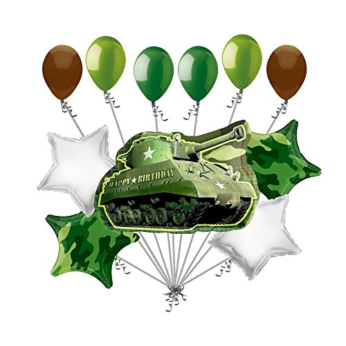 11 pc Military Tank Camo Balloon Bouquet Army Birthday Welcome Home Camouflage]()