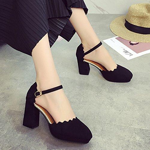SHOESHAOGE Épais À Tête Ronde Avec Des Chaussures Simples Femmes Dotée De Fentes Pour Les Étudiants High-Heel Shoes De Baotou Sandales EU39 eeOZEzQ