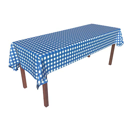 Disposable Checkered Tablecloths (Heavy Duty Disposable Plastic Tablecloth Tablecover Rectangle Blue White Gingham Checkered 54 Inch. x 108 Inch. 6 Pack Party Picnic Outdoor)
