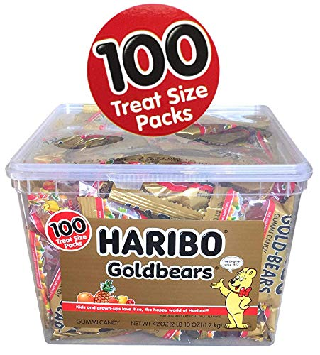 - Haribo Gummy Bears Halloween Candy 2018 Giant Bonus Pack - 100 Snack Size Gold Bears Gummi Candy Individual Bags For Trick or Treat or Halloween Party Favors (100 Snack Pouches)