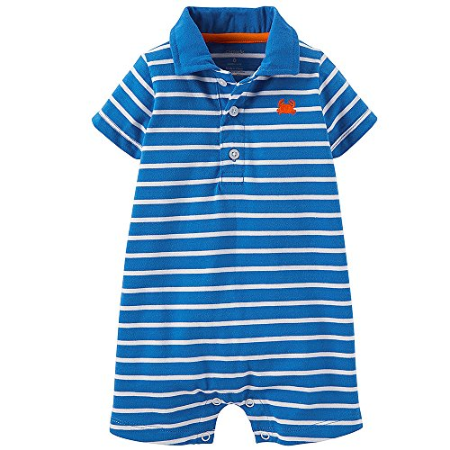 Carter's Baby Boys' Striped Romper (Baby) - Blue/White - 9 Months