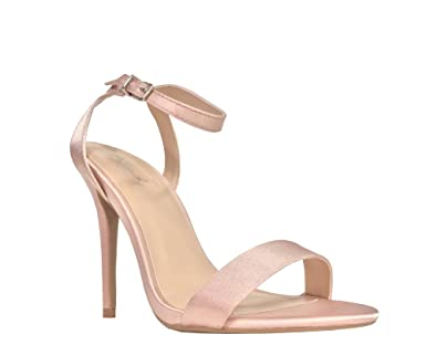 bfad11db8b Women's Satin Open Toe Ankle Strap Stiletto High Heel Dress Sandals, Blush