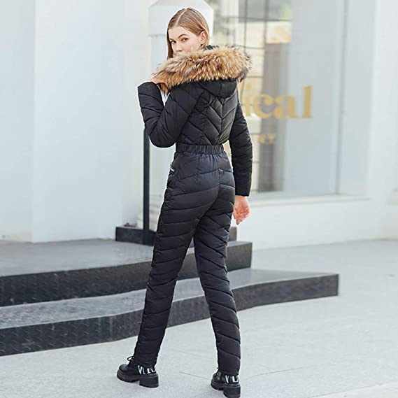 Dishykooker Winter Fashion Jumpsuit Cotton Coat And Pants Hooded Imitation Wool Collar Thicken Jacket For Women Black Xxl Fashion Girls Amazon In Clothing Accessories