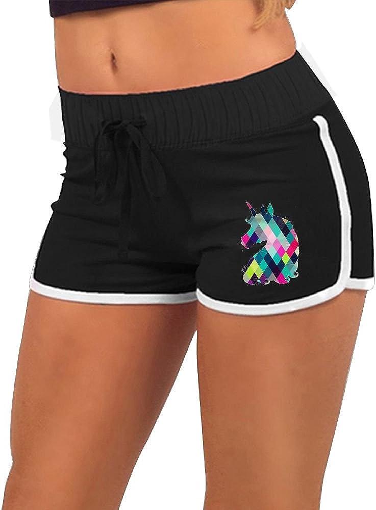 BKDMHHH Womens Summer Casual Hot Pants Colorful Horse 3D Printed Drawstring Waist Yoga Beach Shorts