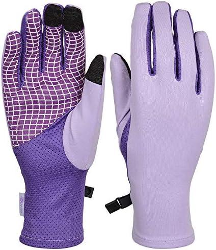 BAJIMI UVカット手袋 手触りが良い ファッション日焼け止め手袋UPF50 + UV保護通気性滑り止め屋外スポーツ手袋 夏 ハンド ケア レディース/メンズ (Color : Purple, Size : L)