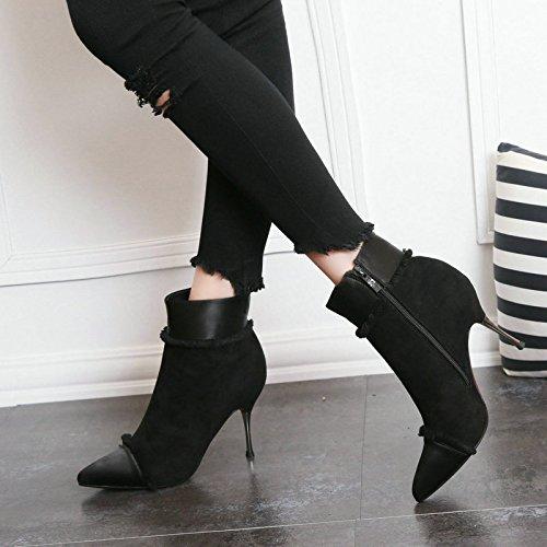 Otoño Y black Desnudo Zapatos Con Invierno De Y Botas El Mujer AJUNR Son Botas Botas De Cremallera Puntiagudos High Flecos All Lateral Heeled Match Desnuda Moda El Botas Fina 0qYdnf0pxw