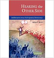 a summary of hearing the other side deliberative versus participatory democracy by mutz Public opinion and political psychology in the course catalog, but political behavior better reflects its not take the form of a lecture or lengthy summary of the material mutz, diana c 2006 hearing the other side: deliberative versus participatory democracy new york: cambridge university press zaller, john 1992.