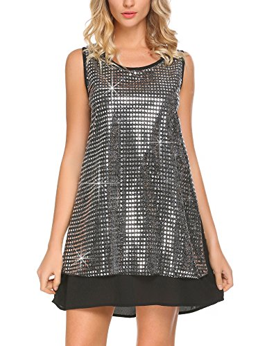 Mofavor Women's Sleeveless Sparkle Shimmer Camisole Loose Glam Sequined Vest Tank (Sparkle Camisole)