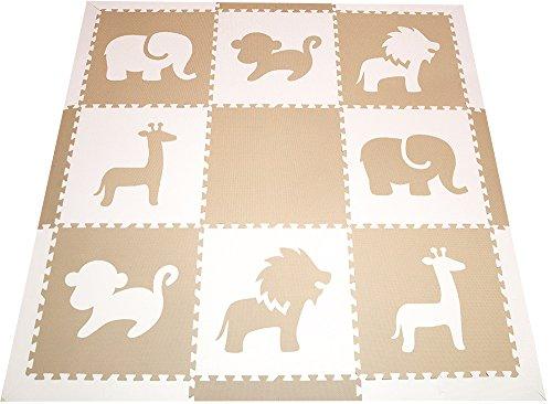 SoftTiles Foam Children's Playmat - Safari Animals Theme Designer Foam Tiles for Kids Playrooms and Baby Nursery 78