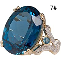 Haluoo Round Sapphire Filled Engagement Wedding Rings Gold Plated Women's Big Stone Diamond Statement Promise Rings Band Size 6-10