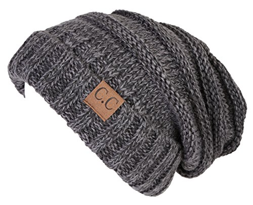 H-6100-6221 Oversized Slouchy Beanie - A Graphite Grey Tricolor (Oversized Gloves)