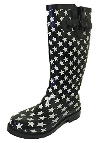RF Women's Rain Boots Multiple Styles Color Mid Calf Wellies Buckle Fashion Rubber Knee High Snow (6 B(M) US, Black/White Stars)