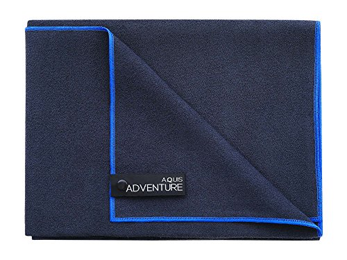 Aquis - Adventure Microfiber Sports Towel, Quick-Drying Comfort Ideal For The Beach or Yoga, Black with Blue Trim (X-Large/29 x 55 Inches)