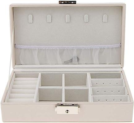 Sharplace Joyero de Joyeria Caja de Joyas Estuche de Cuero de Poliuretano para Pendientes - Blanco: Amazon.es: Joyería