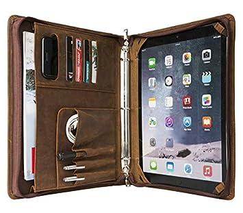 Vintage Cartera portadocumentos de piel Crazy Horse con 3 anillas Hecho a mano Folio tarjetero organizador con cremallera funda tamaño A4 bloc de notas caso ...