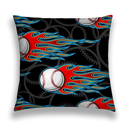 zexuandiy Decor Throw Pillow Cushion Cover, Decorative Square Accent Pillow Case, 18 X 18 inches Seamless Printable Pattern Baseball Softball Balls hot Rod Flames Ideal Wallpaper Packaging Modern]()