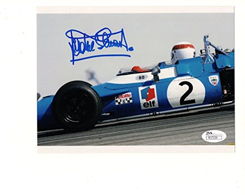JACKIE STEWART HAND SIGNED 6x8 COLOR PHOTO FORMULA 1 LEGEND IN CAR - JSA Certified - Autographed Extreme Sports (Formula 1 Photo)