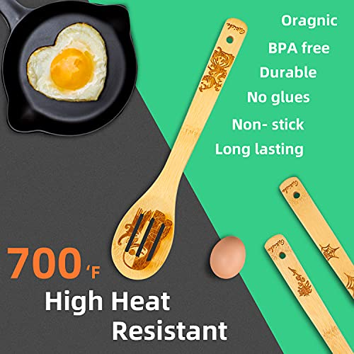 Halloween Wooden Spoons for Cooking - Nonstick Wooden Kitchen Utensils Set, 5pcs Bamboo Cooking Spatula Serving Spoons Embossed with Assorted Halloween Party Favors Prints, Perfect Gift for Mothers